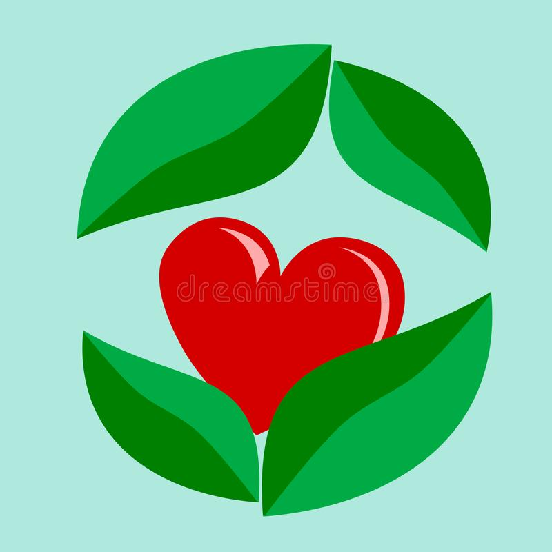 Red heart on green leave ,concept love. Nature stock illustration