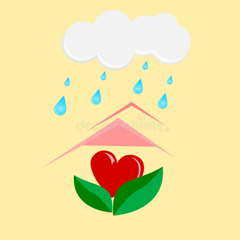 Red heart on green leave ,concept love. Nature royalty free illustration