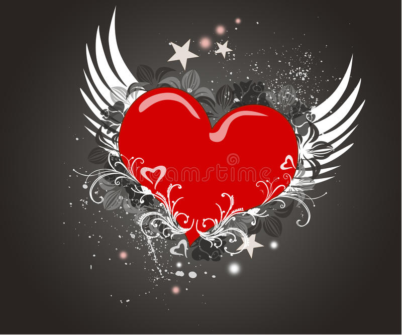Download Red  Heart On The Grunge Background Stock Illustration - Image: 21061004