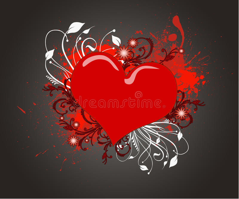 Red  heart on the grunge background