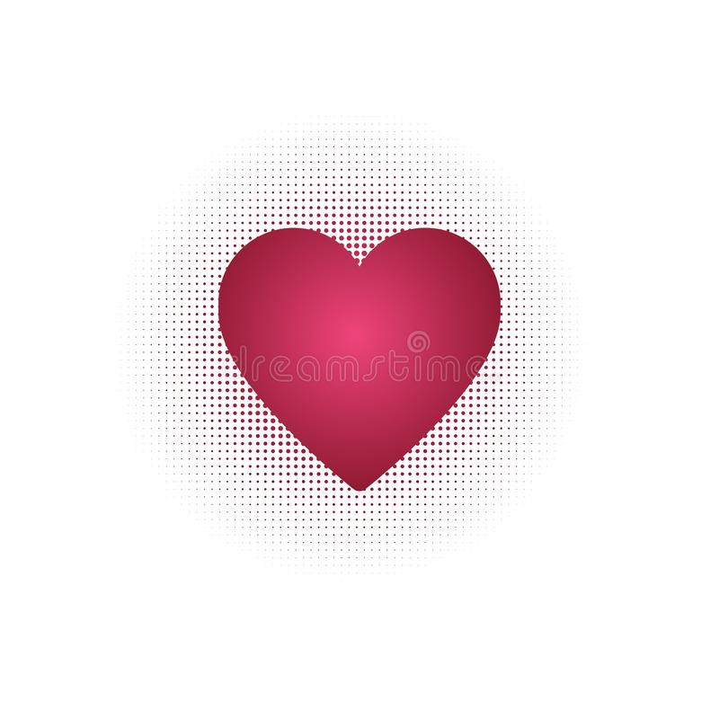 Red Heart with Halftone background, Vector illustration isolated on white background royalty free illustration