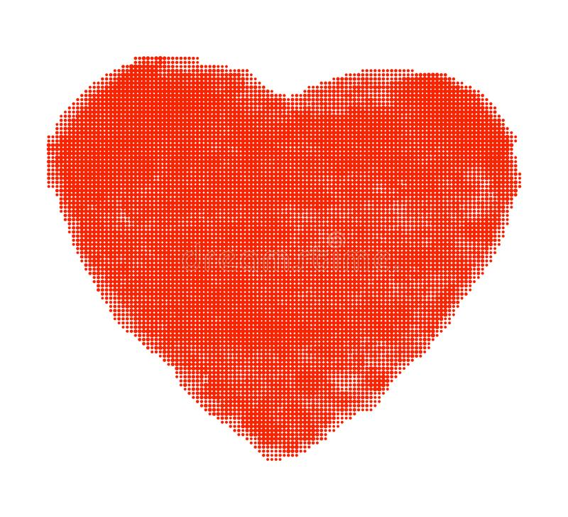 Red Heart Halftone raster texture. Vector Illustration stock illustration