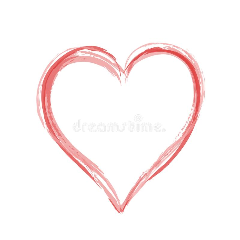 Red heart hand drawn like love symbol on white, stock vector illustration icon royalty free illustration