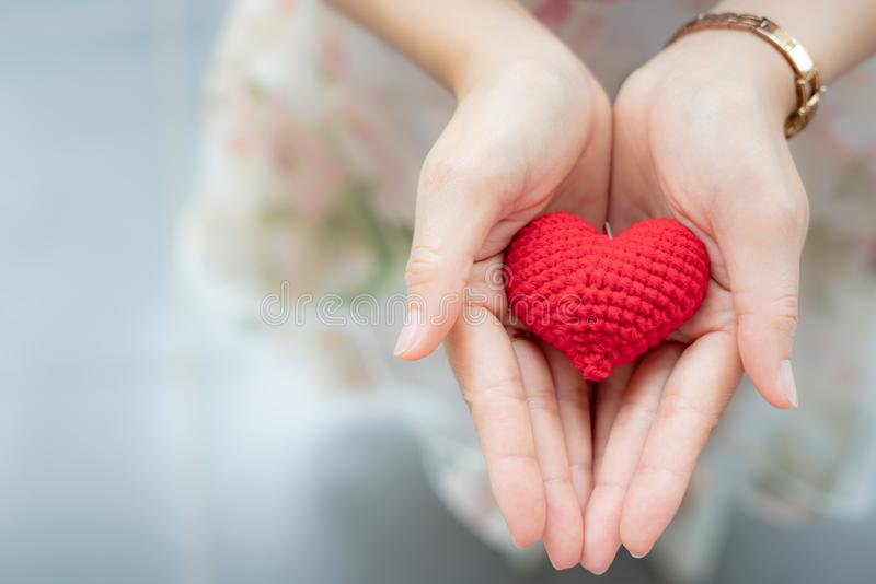 Red heart in hands from above. Healthy, love, donation organ, do stock photography