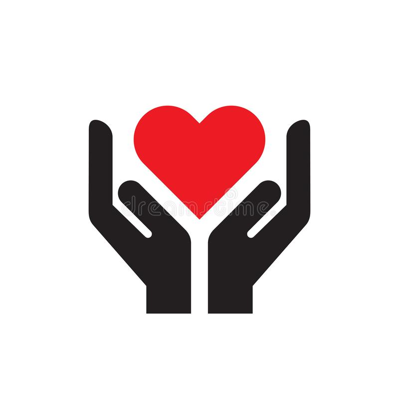 Red heart in hands - icon on white background vector illustration for website, mobile application, presentation, infographic. Love vector illustration