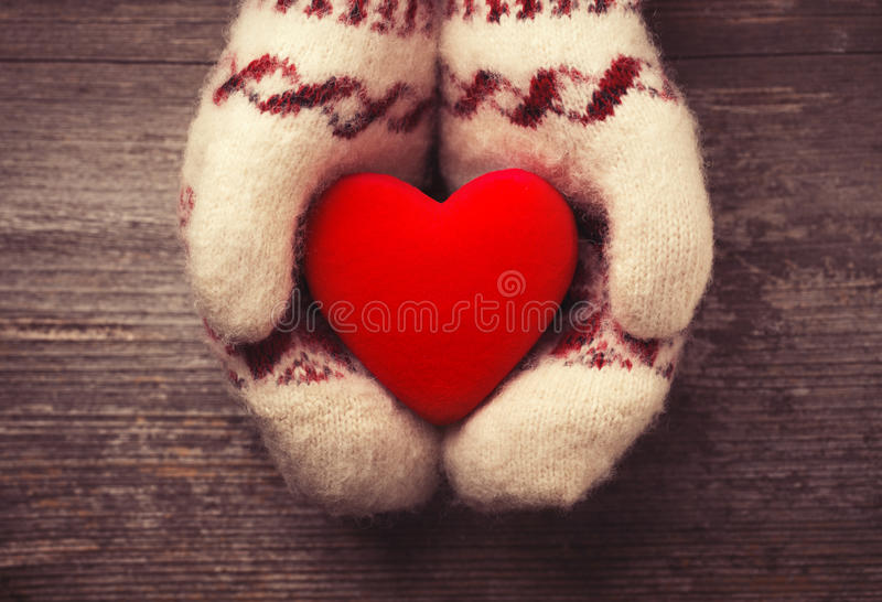 Download Red heart stock photo. Image of mittens, horizontal, love - 49427216
