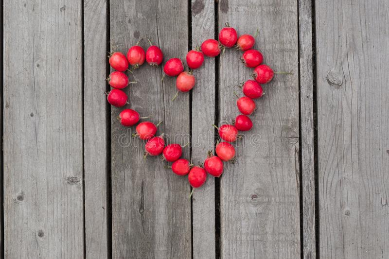 Red heart of hawthorn berries on a wooden background.  stock photo
