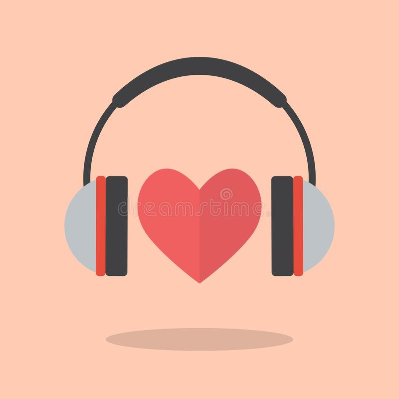 Red heart with headphones. Vector illustration royalty free illustration