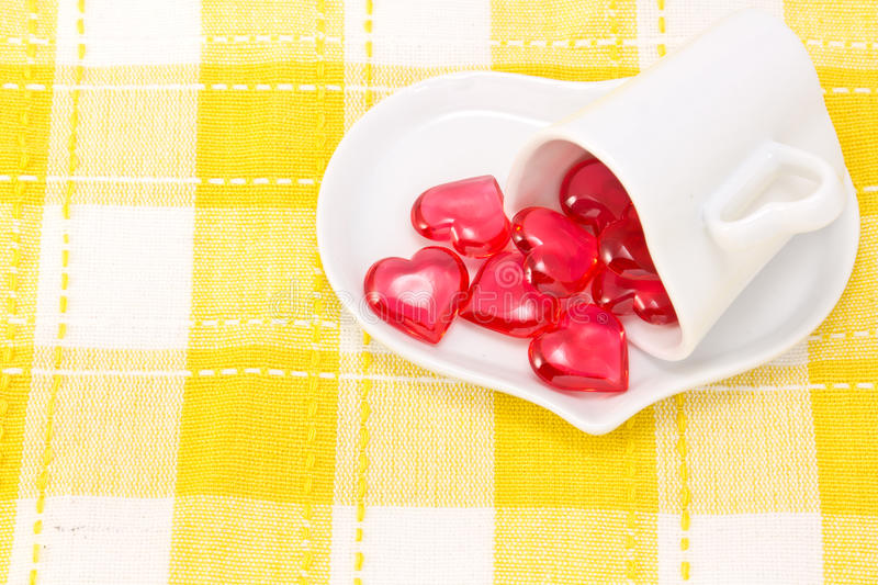 Red Heart And Heart-shaped Coffee Cup Royalty Free Stock Photo