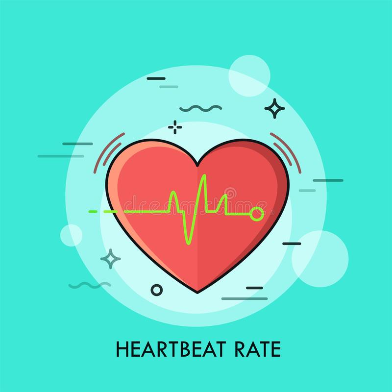 Red heart and heartbeat rate rhythm or electrocardiogram. stock illustration