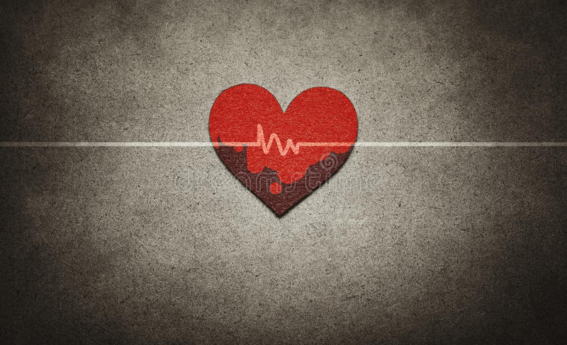 Download Red heart and heartbeat stock photo. Image of vintage - 42805392