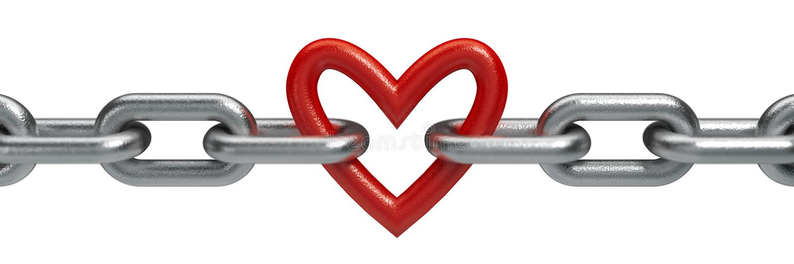 Red heart held by a steel chain vector illustration