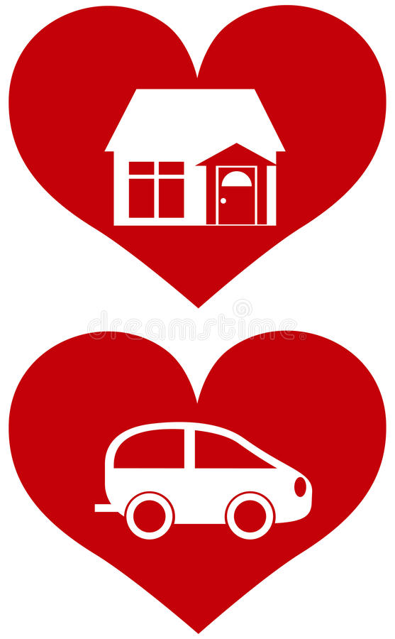 Red Heart With House And Car Illustration Stock Vector