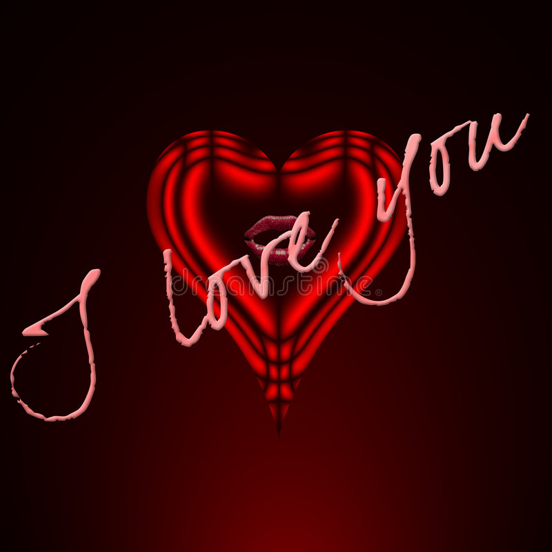 Red Heart with I LOVE YOU vector illustration