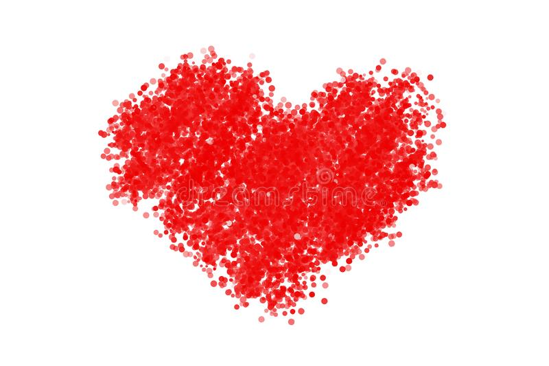 Red heart icon isolated on white background created from bokeh vector illustration
