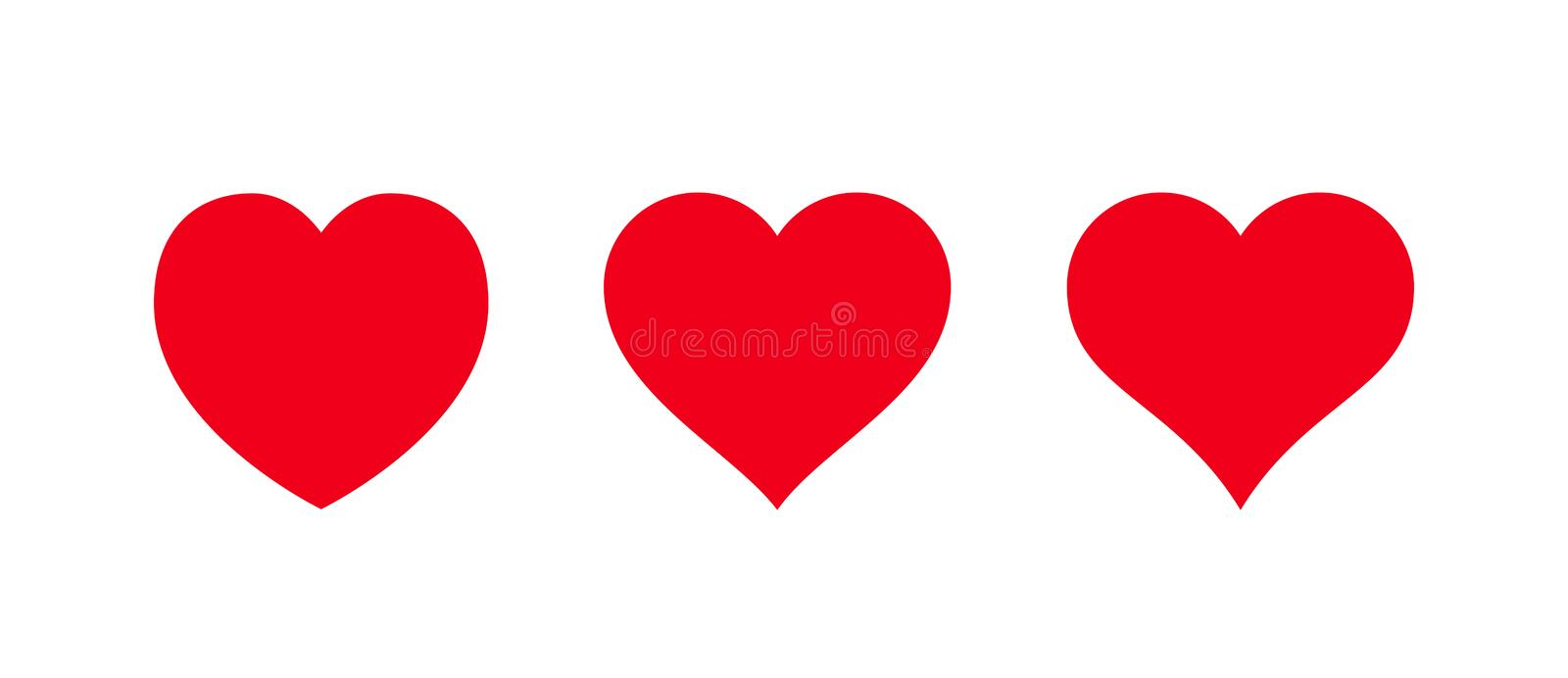 Red heart Icon isolated on white background. Set of love symbols. Red heart Icon isolated on white background. Set of love symbol for web site logo, mobile app stock illustration