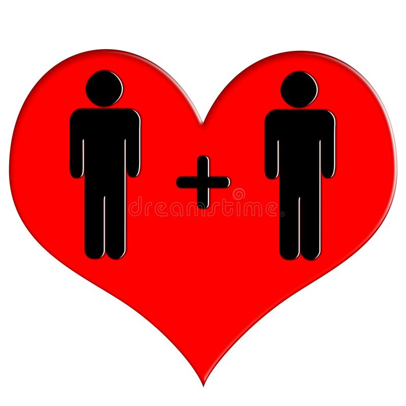 Red heart icon man and man stock photography