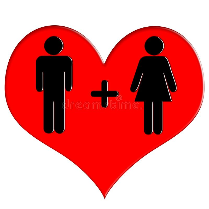 Red heart icon man and woman stock photography