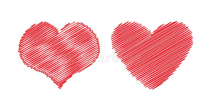 Red Heart Icon Set Different Shape Happy Valentines Day Sign