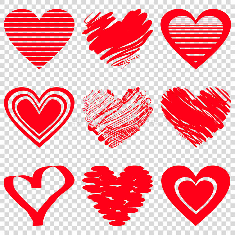 Red heart icons. Vector illustration for happy valentines day holiday design. Romantic shape heart symbol. Love sign graphics. Hand drawning element. Sketch stock illustration
