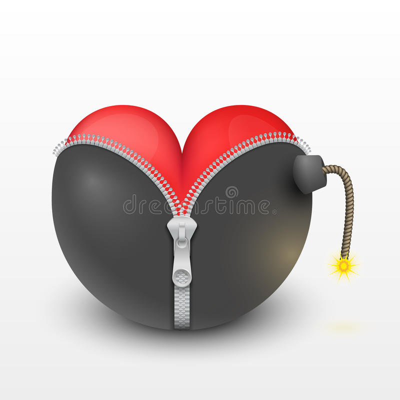 Free Red Heart Inside The Black Bombs Royalty Free Stock Images - 36550629