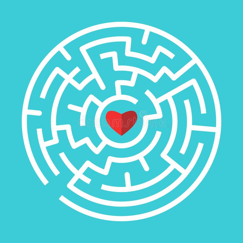 Red heart inside white circular maze on turquoise blue background. Love, relationship and search concept. Flat design. Vector stock illustration