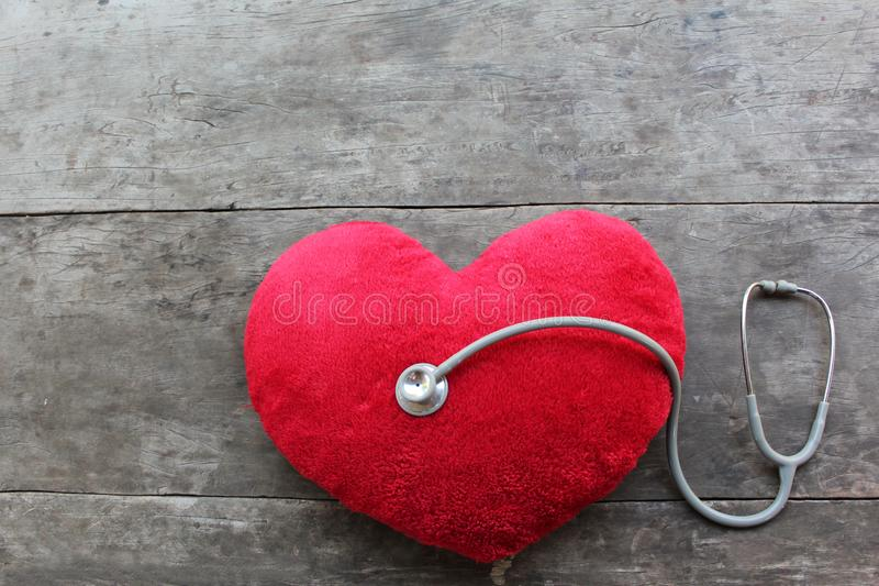 Red heart inspection stethoscope doctor stock images