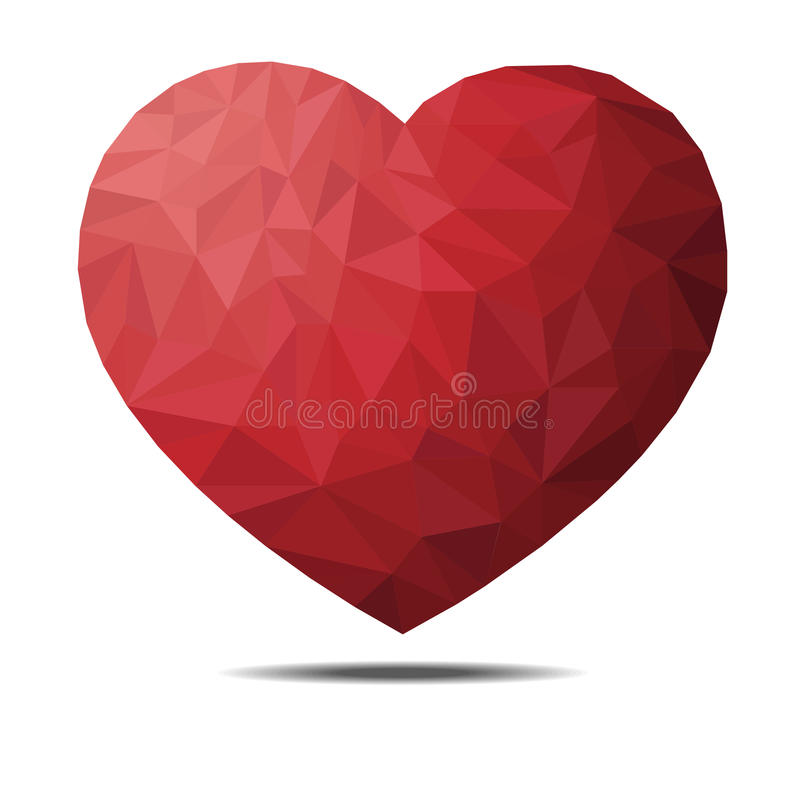 Red heart isolated on white background. Geometric graphic illustration. royalty free stock photo