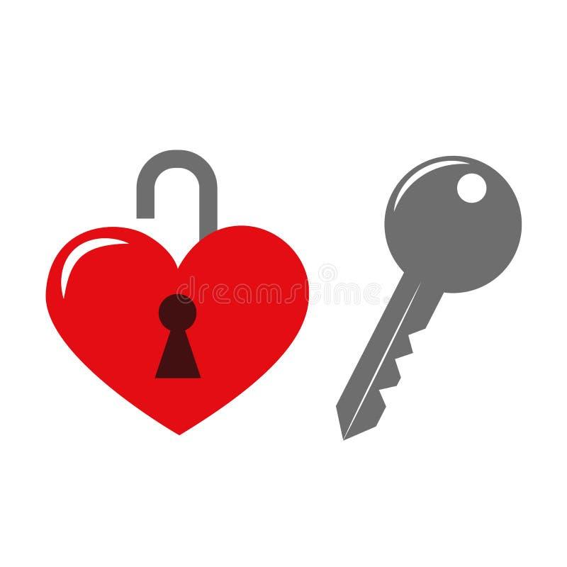 Red heart with key. Vector illustartion EPS10 vector illustration