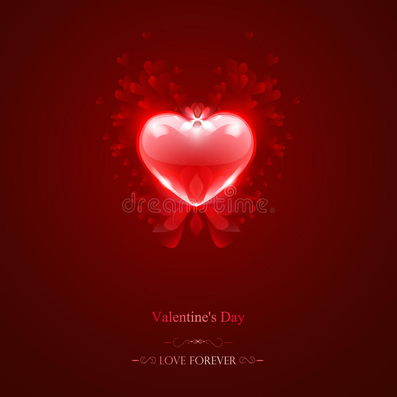 Red heart, lights and petals vector stock photo