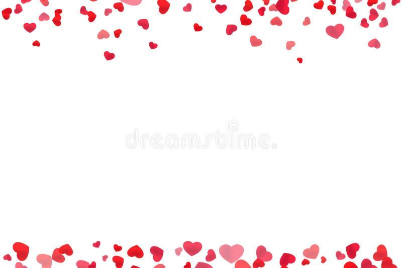 Red heart line frame. For header and footer design vector illustration