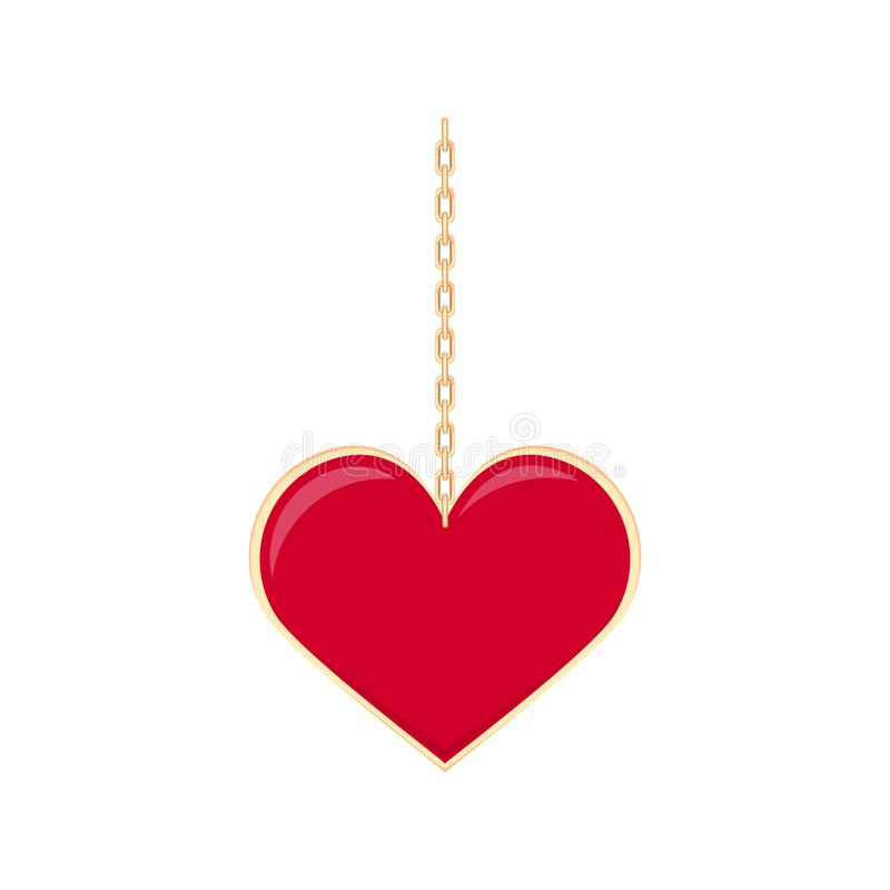 Red heart locket on a gold chain. stock illustration