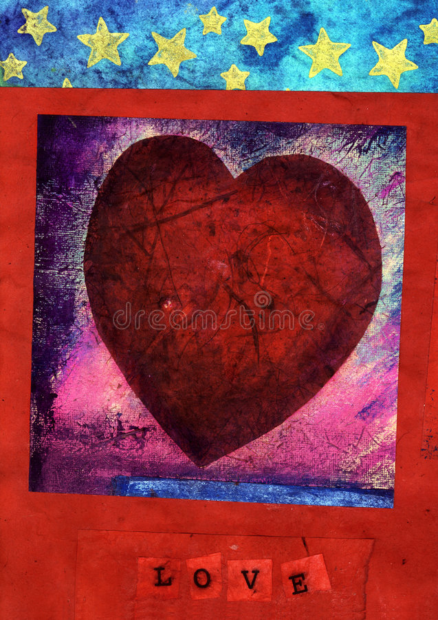 Red Heart With LOVE 3. Mix media collage of a textural red heart, stars, and the word LOVE