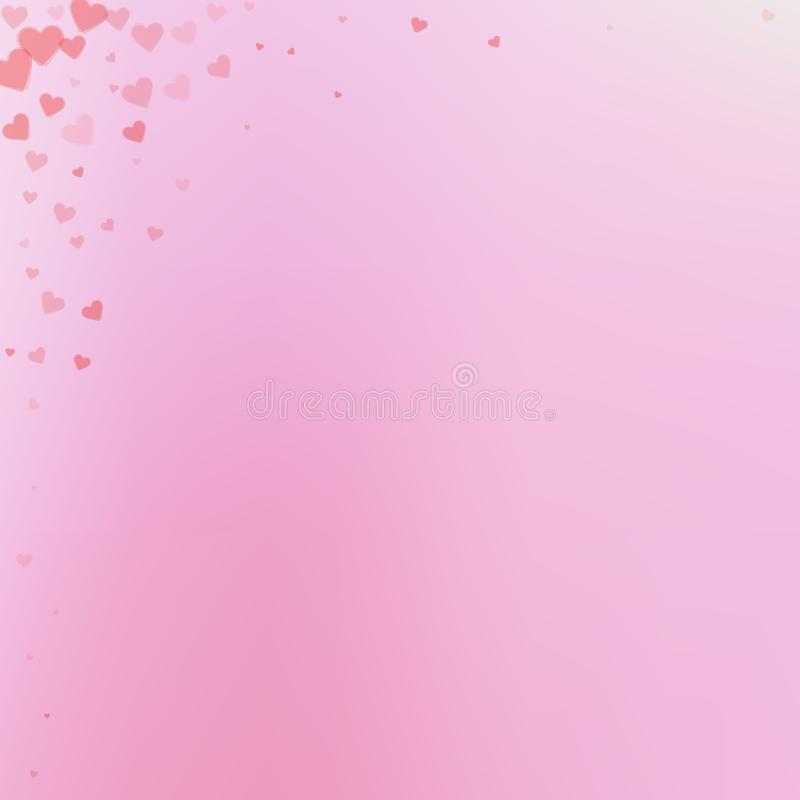 Red heart love confettis. Valentine`s day corner p vector illustration