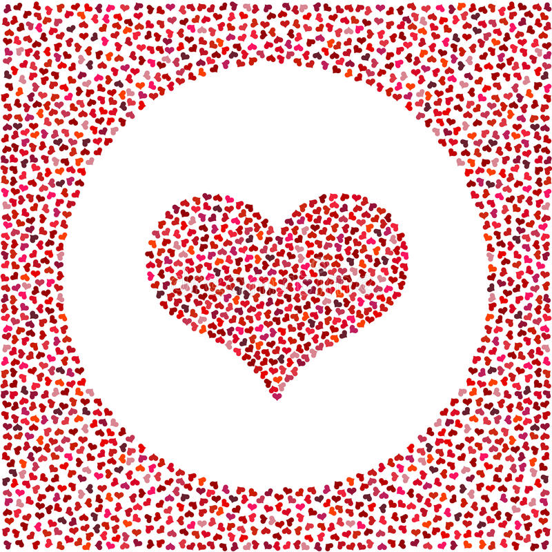 Red heart made of little hearts and little hearts around. Valentines Day background with many hearts royalty free illustration