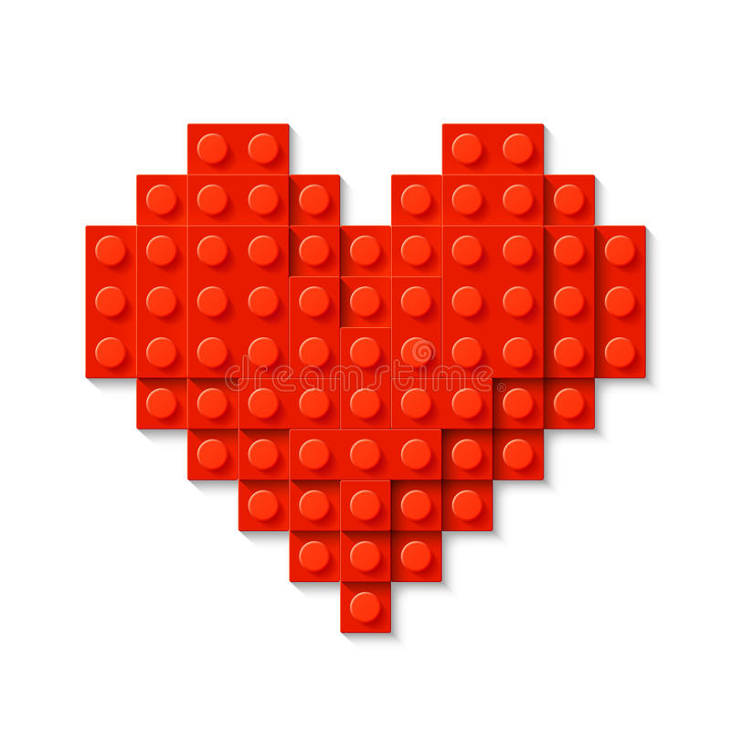 Red heart made of plastic construction blocks vector illustration