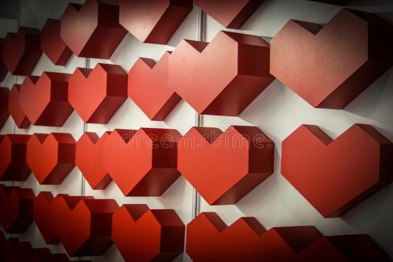 Red heart. Many heart`s background. Abstract art papier and plastic heart stock images