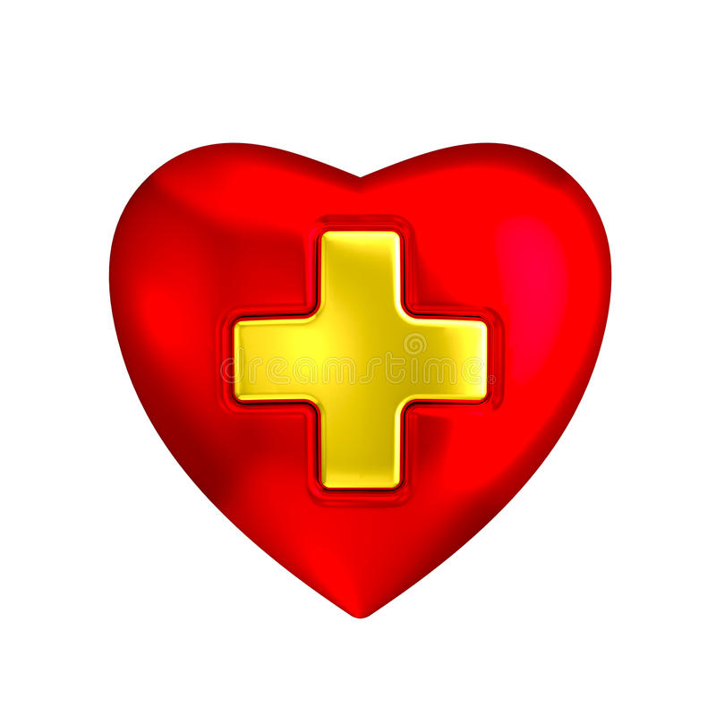 Download Red Heart With Medical Gold Cross Stock Illustration - Image: 43597293