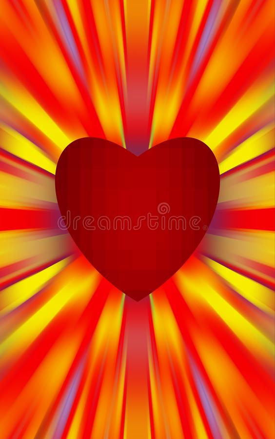 Red heart in the middle diverge the colored stripes to the edges. For the Mothers Day, Valentines Day. royalty free stock photo