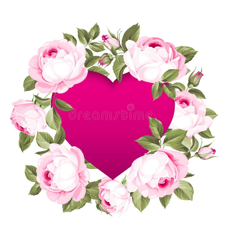 Red heart in the middle of the image. Blooming flowers garland around text place isolated over white background. Vector illustration stock illustration