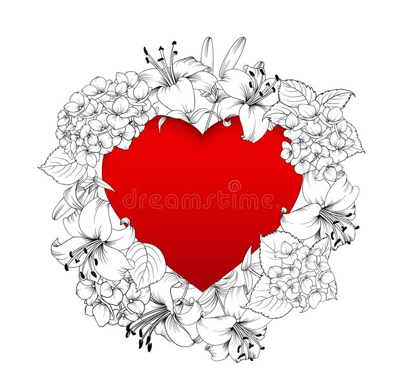 Red heart in the middle of the image. Blooming flowers garland around text place isolated over white background. Vector illustration vector illustration