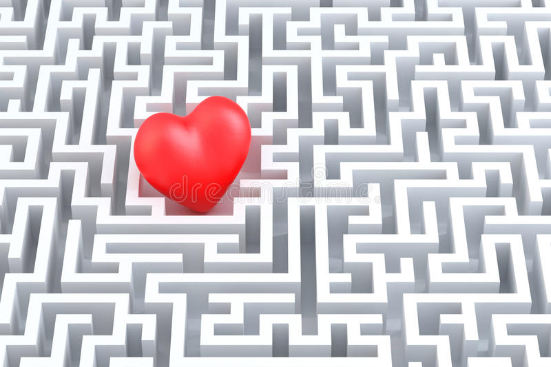 Red heart in the middle of the maze stock illustration