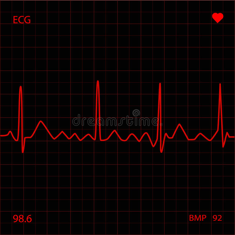 Red Heart Monitor. Screen display royalty free illustration