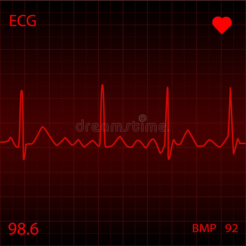 Red Heart Monitor. On a black background royalty free illustration