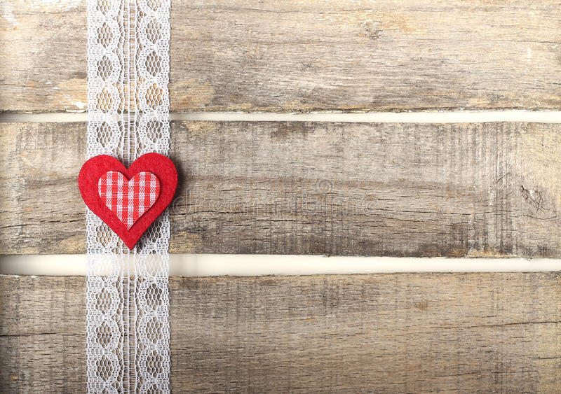 Red Heart On Old Wooden Background Royalty Free Stock Image
