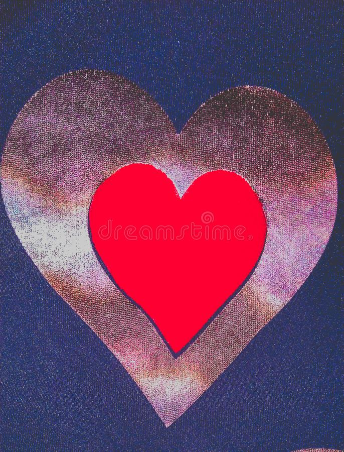Red heart outlined by golden heart, valentine prints, heart vector graphic design in blue shiny backgroud. Red heart outlined by golden heart, valentine prints stock photography