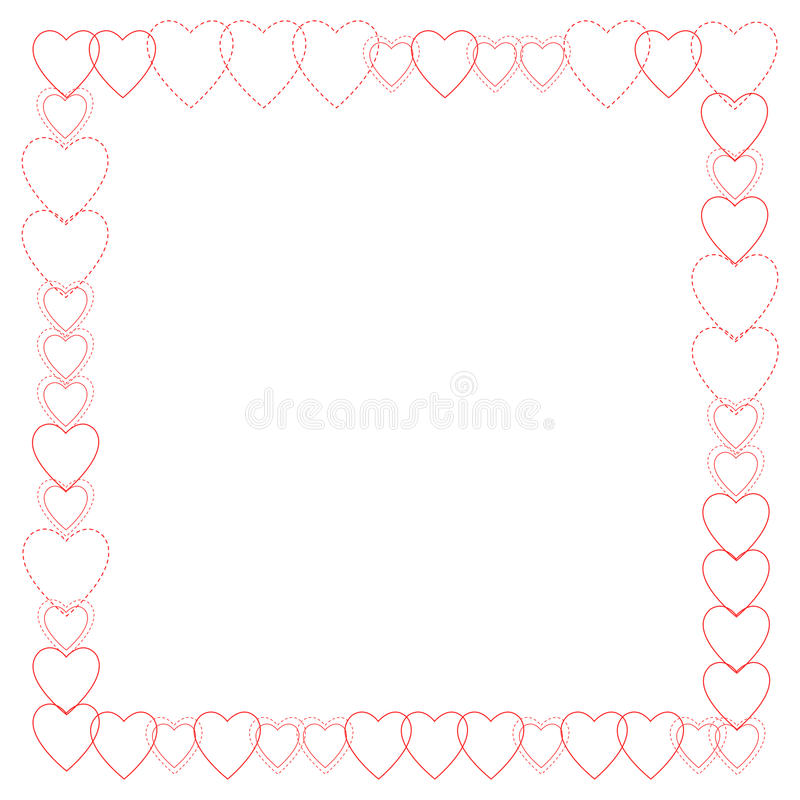 Download Red Heart Outlines Border stock illustration. Image of dashed - 11439927