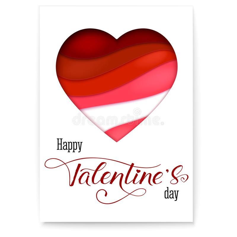 Red heart from paper with cut out layers. Simple greeting poster for Valentines days. Modern abstract background with vector illustration