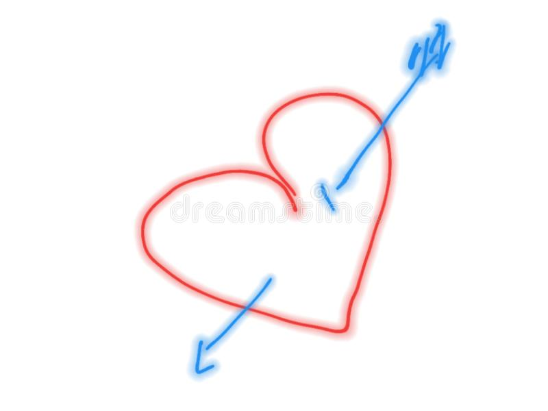 Red heart pierced with a blue arrow, hand drawn stock illustration