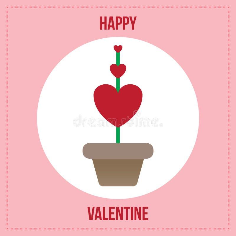 Red heart plant in flowerpot vector illustration